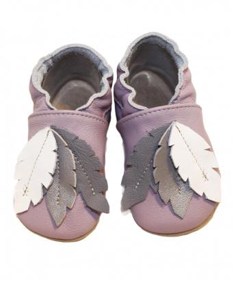 Zvětšit BABICE kožené topánočky - pierka lila BA-127, 01