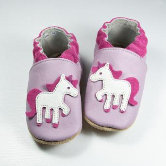 Zvětšit BABICE kožené topánočky - unicorn lilac BA-180