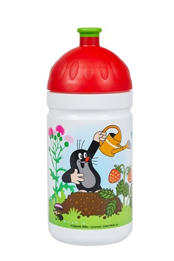 Zvětšit Zdravá fľaša Krtko a jahody 0,5l - červená